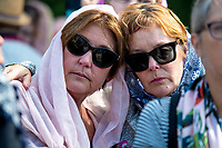 Women wearing headscarves outside the Wellington Islamic Centre. NZ marks one week since Christchurch terror attacks. Wellington Islamic Centre in Wellington, New Zealand on Friday, 22 March 2019. Photo: Dave Lintott / lintottphoto.co.nz