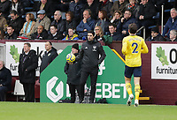 2nd February 2020; Turf Moor, Burnley, Lanchashire, England; English Premier League Football, Burnley versus Arsenal; Arsenal manager Mikel Arteta retrieves the game ball in the dugout