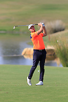 Bjorn Akesson (SWE) plays his 2nd shot on the 14th hole during Thursday's Round 1 of the 2016 Portugal Masters held at the Oceanico Victoria Golf Course, Vilamoura, Algarve, Portugal. 19th October 2016.<br /> Picture: Eoin Clarke | Golffile<br /> <br /> <br /> All photos usage must carry mandatory copyright credit (&copy; Golffile | Eoin Clarke)