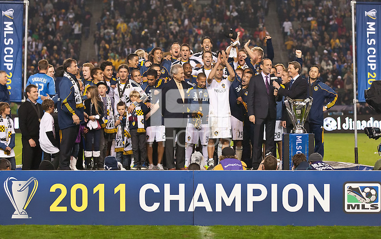 CARSON, CA - November 20, 2011: LA Galaxy team during post game ceremonies during  the MLS Cup match between LA Galaxy and Houston Dynamo at the Home Depot Center in Carson, California. Final score LA Galaxy 1, Houston Dynamo 0.