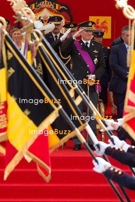 Le Roi Philippe de Belgique assiste au d&eacute;fil&eacute; militaire, &agrave; l'occasion de la f&ecirc;te Nationale belge.<br /> Belgique, Bruxelles, 21 juillet 2015.<br /> King Philippe of Belgium attends the military parade, on the occasion of today's Belgian National Day.<br /> Belgium, Brussels, 21 July 2015.
