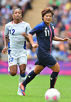 August 06, 2012..Japan's Shinobu Ohno #11, and France's Elodie Thomis #12 during Semi Final match at the Wembley Stadium on day ten in Wembley, England. Japan defeats France 2-1 to reach Women's Finals of the 2012 London Olympics.