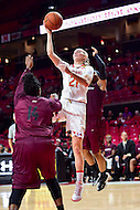 College Park, MD - NOV 16, 2016: Maryland Terrapins guard Sarah Myers (21) goes up for a lay up during game between Maryland and Maryland Eastern Shore Lady Hawks at XFINITY Center in College Park, MD. The Terps defeated the Lady Hawks 106-61. (Photo by Phil Peters/Media Images International)