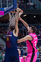 Estudiantes Victor Arteaga and FC Barcelona Lassa Pierre Oriole during Liga Endesa match between Estudiantes and FC Barcelona Lassa at Wizink Center in Madrid, Spain. October 22, 2017. (ALTERPHOTOS/Borja B.Hojas) /NortePhoto.com