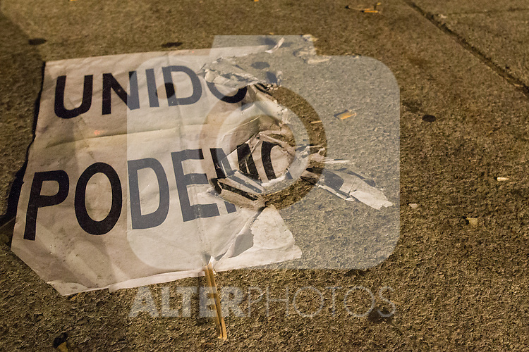 A broken poster of Unidos Podemos after the results of the national elections at plaza Reina Sofia, Spain. 26,06,2016. (ALTERPHOTOS/Rodrigo Jimenez)