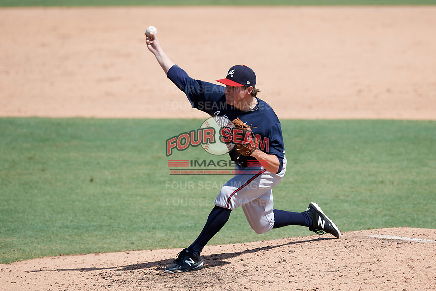 Atlanta Braves pitcher Sean McLaughlin (17) delivers a pitch during an Instructional League game against the Baltimore Orioles on September 25, 2017 at Ed Smith Stadium in Sarasota, Florida.  (Mike Janes/Four Seam Images)