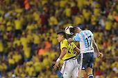 Nicolas Otamendi y Jeison Murillo en partido de eliminatorias para el Mundial de F&uacute;tbol 2018 en el Estadio Metropolitano Roberto Melendez de Barranquilla el 17 de novimbre de 2015.<br /> <br /> Foto: Archivolatino<br /> <br /> COPYRIGHT: Archivolatino<br /> Prohibido su uso sin autorizaci&oacute;n.