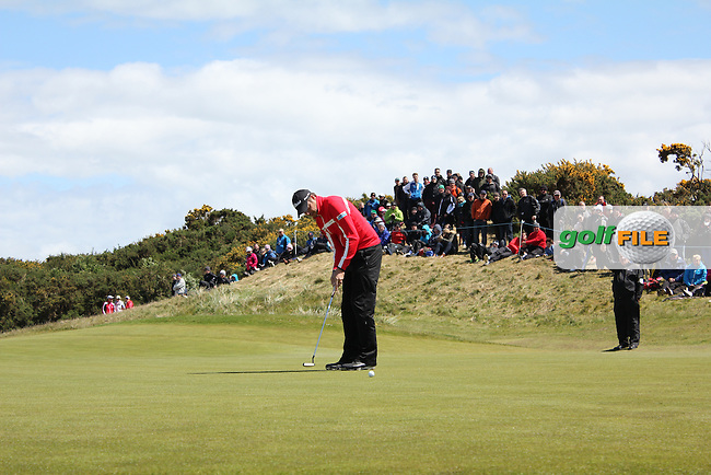 Simon THORNTON (IRL) on the 16th green during the final round of the 2015 Dubai Duty Free Irish Open hosted by the Rory Foundation, Royal County Down Golf Club, Newcastle Co Down, Northern Ireland. 31/05/2015<br /> Picture TJ Caffrey, www.golffile.ie