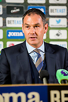 Manager of Swansea City, Paul Clement during the press conference after the Premier League match between Swansea City and West Bromwich Albion at The Liberty Stadium, Swansea, Wales, UK. Sunday 21 May 2017 (Photo by Athena Pictures/Getty Images)
