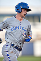Dunedin Blue Jays catcher Riley Adams (23) runs the bases after hitting a grand slam home run in the top of the fourth inning during a game against the Charlotte Stone Crabs on June 5, 2018 at Charlotte Sports Park in Port Charlotte, Florida.  Dunedin defeated Charlotte 9-5.  (Mike Janes/Four Seam Images)