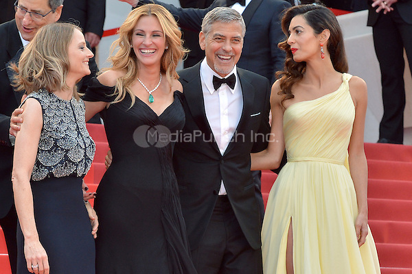 Jodie Forster, Julia Roberts, George Clooney and his wife Amal at the &yen;Money Monster` screening during The 69th Annual Cannes Film Festival on May 12, 2016 in Cannes, France.<br /> CAP/LAF<br /> &copy;Lafitte/Capital Pictures /MediaPunch ***NORTH AND SOUTH AMERICA ONLY***