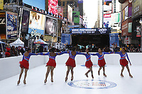 NEW YORK - OCT 29: Figure Skating In Harlem athletes, including Zjana Ray, 16, 3rd from right, perform. Olympic athletes participate in 100 Days to Sochi, a promotional event for the US Olympic Team, on Tuesday, October 29, 2013 in New York City. (Photo by Landon Nordeman)