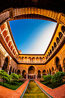 Courtyard, The Alcázar of Seville (Real Alcazar) is a royal palace in Seville, Spain, built for the Christian king Peter of Castile.
