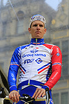 French National Champion Arnaud Demare (FRA) Groupama-FDJ on stage at the team presentation in Antwerp before the start of the 2019 Ronde Van Vlaanderen 270km from Antwerp to Oudenaarde, Belgium. 7th April 2019.<br /> Picture: Eoin Clarke | Cyclefile<br /> <br /> All photos usage must carry mandatory copyright credit (&copy; Cyclefile | Eoin Clarke)
