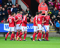 Crewe Alexandra's Michael Raynes celebrates scoring the opening goal<br /> <br /> Photographer Andrew Vaughan/CameraSport<br /> <br /> The EFL Sky Bet League Two - Crewe Alexandra v Lincoln City - Saturday 11th November 2017 - Alexandra Stadium - Crewe<br /> <br /> World Copyright &copy; 2017 CameraSport. All rights reserved. 43 Linden Ave. Countesthorpe. Leicester. England. LE8 5PG - Tel: +44 (0) 116 277 4147 - admin@camerasport.com - www.camerasport.com