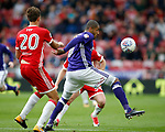 Leon Clarke of Sheffield Utd tussles with Dael Fry of Middlesbrough during the Championship match at the Riverside Stadium, Middlesbrough. Picture date: August 12th 2017. Picture credit should read: Simon Bellis/Sportimage