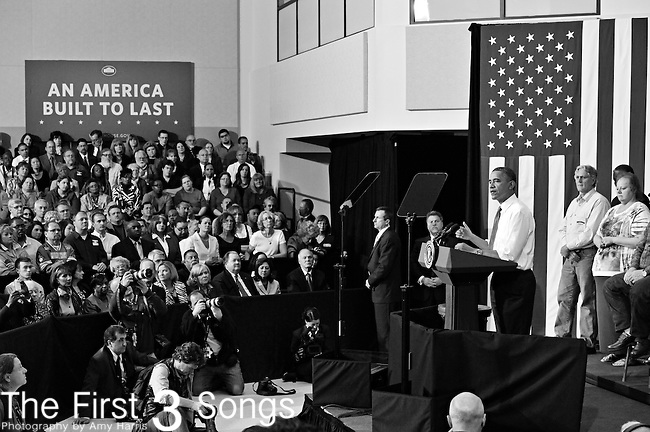 President Barack Obama speaks at Lorain Community College in Elyria, Ohio to deliver remarks on the economy on April 16, 2012.