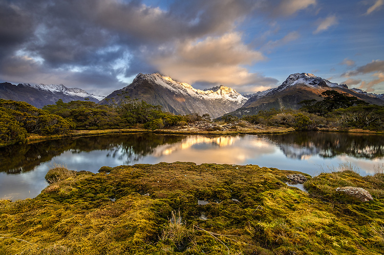 Sunrise looking at Mt Christina and tarns at Key Summit on the Routeburn track, Fiordland, South Island - stock photo, canvas, fine art print
