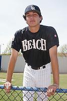 Abe Alvarez of the Long Beach State Dirtbags before a 2002 season NCAA game at Blair Field in Long Beach, California. (Larry Goren/Four Seam Images)