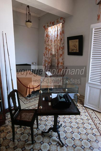 """Cuba/La Havane: La chambre n°511 où Ernest Hemingway écrivit """"Pour qui sonne le glas"""" de l'hôtel Ambos Mundos, Obispo y Mercaderes, Habana Vieja"""