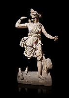 Roman statue of Hunting Artemis .Marble. Perge. 2nd century AD. Inv no .Antalya Archaeology Museum; Turkey. Against a black background.
