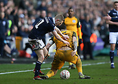17th March 2019, The Den, London, England; The Emirates FA Cup, quarter final, Millwall versus Brighton and Hove Albion; hane Ferguson of Millwall shoving Lewis Dunk of Brighton & Hove Albion on the pitch which resulted in Referee Christopher Kavanagh showing a Red card to Shane Ferguson of Millwall