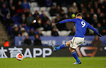 Jamie Vardy of Leicester City scores the second goal from the penalty spot  during the Premier League match at the King Power Stadium, Leicester. Picture date: 9th March 2020. Picture credit should read: Darren Staples/Sportimage