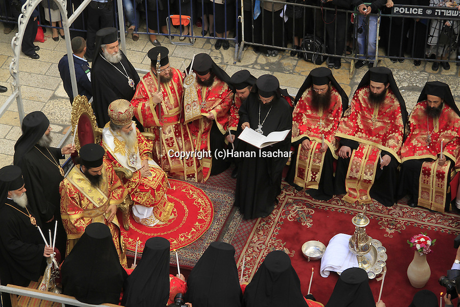 Israel, Jerusalem, Greek Orthodox Patriarch Theophilus III at the Washing of the Feet ceremony on Maundy Thursday at the forecourt of the Church of the Holy Sepulchre