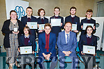 Colaiste Gleann Li, Tralee at the ETB Awards evening in the I T Tralee on Friday night.<br /> Seated l to r: Aleksandra Skotak, Liam McGill (Deputy Principal), Richard Lawlor (Principal) and Snjezana Herbsts.<br /> Back l to r: Clodagh Quirke, Aodhan Quirke, Thomas Lynch, Ethan Byrne, Donald Walsh and Gavin Mulvihill.