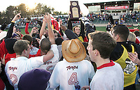 Maryland players celebrate with the championship trophy. The University of Maryland Terrapins defeated the University of New Mexico Lobos 1-0 in the Men's College Cup Championship game at SAS Stadium in Cary, NC, Friday, December 11, 2005.