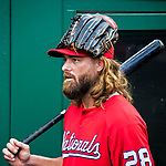 7 October 2017: Washington Nationals outfielder Jayson Werth returns to the clubhouse after his turn in the batting cage prior to the second game of the NLDS against the Chicago Cubs at Nationals Park in Washington, DC. The Nationals rallied to defeat the Cubs 6-3 and even their best of five Postseason series at one game apiece. Mandatory Credit: Ed Wolfstein Photo *** RAW (NEF) Image File Available ***