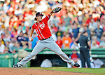 9 June 2012: Washington Nationals pitcher Tyler Clippard in action against the Boston Red Sox at Fenway Park in Boston, MA. The Nationals defeated the Red Sox 4-2 in the second game of their 3-game series. Mandatory Credit: Ed Wolfstein Photo
