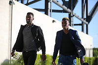 San Jose, CA - Friday April 14, 2017: Shaun Francis, Cordell Cato  prior to a Major League Soccer (MLS) match between the San Jose Earthquakes and FC Dallas at Avaya Stadium.