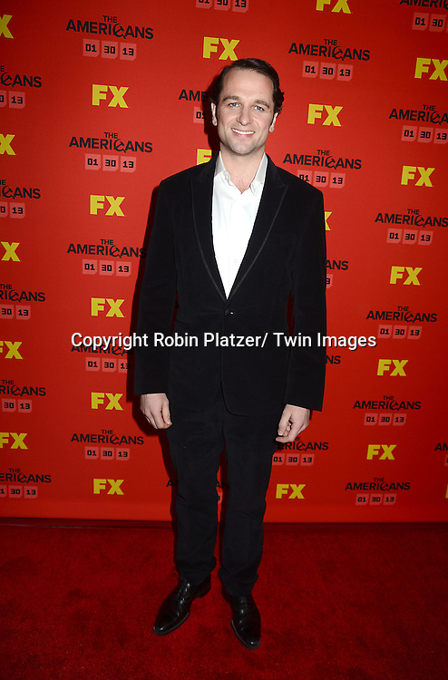 "Matthew Rhys attends the premiere screening in New York City of ""The Americans"" on January 26, 2013 at The DGA Theatre. The tv series will be on FX starting on January 30, 2013 and stars Keri Russell, Matthew Rhys, Noah Emmerich, Holly Taylor and Keidrick Sellati."