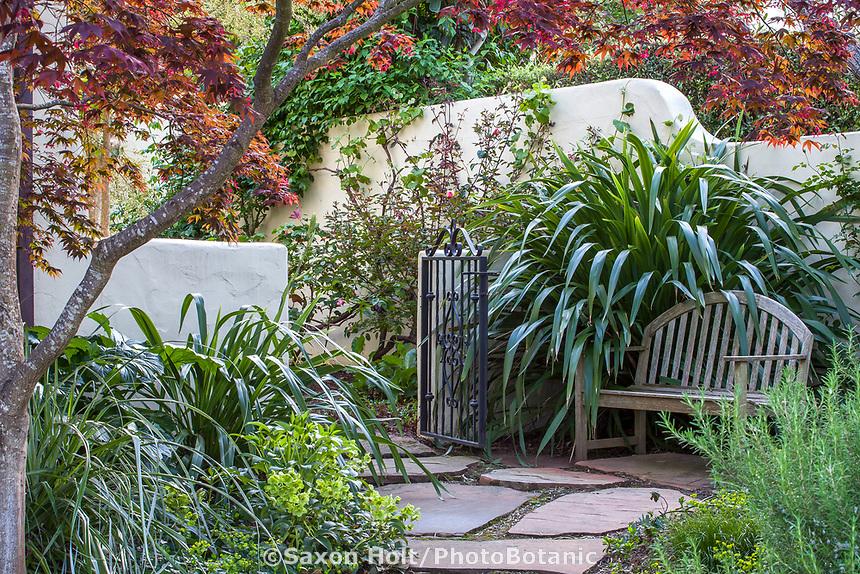 Phormium cookianum by bench on patio leading to secret garden room, McAvoy Garden - California summer-dry garden; Ground Studio Landscape Architecture