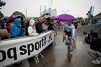 Alexey Lutsenko (KAZ/Astana) with a not-so-elegant rain solution at the stage start<br /> <br /> Stage 6: Saint-Vulbas to Saint-Michel-de-Maurienne (228km)<br /> 71st Critérium du Dauphiné 2019 (2.UWT)<br /> <br /> ©kramon