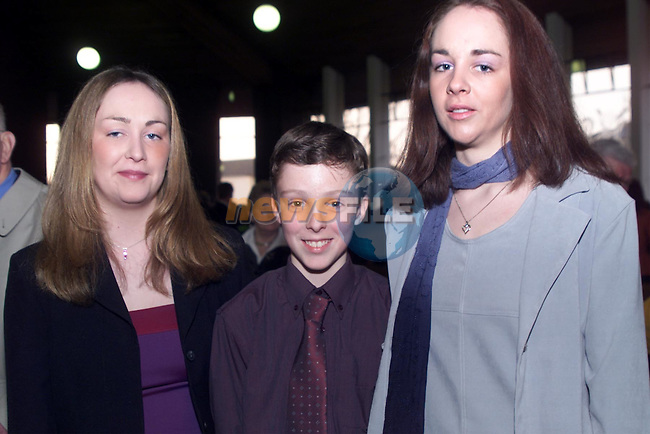 Connor Higgins with his sisters Fiona and Kerry pictured at Connor's confirmation in Ardee..pic: Newsfile