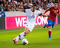 HOUSTON, TX - FEBRUARY 03: Christen Press #20 of the USA attacks with the ball during a game between Costa Rica and USWNT at BBVA Stadium on February 03, 2020 in Houston, Texas.