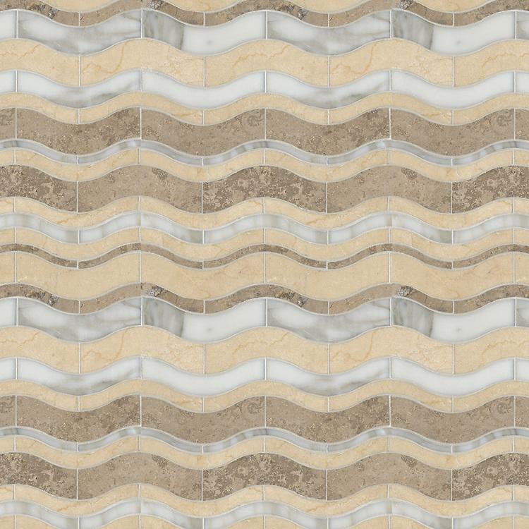Beige Waves, a waterjet stone mosaic, shown in polished Crema Marfil, honed Jura Grey, polished Calacata Tia.