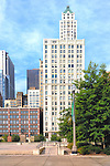 View of Chicago Skyline from Millennium Park near the Cloud, 30 North Michigan Ave. Building, 20 North Michigan Ave. Building on left, IL. State Medical Society Building