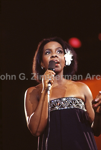 Gladys Knight performing at the MGM Grand, Las Vegas, 1974. Photo by John G. Zimmerman.