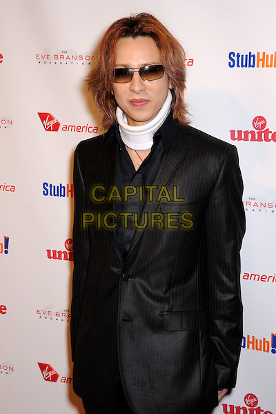"YOSHIKI .""Rock the Kasbah"" Gala 2009 Benfiting Virgin Unite and the Eve Branson Foundation held at Vibiana, Los Angeles, California, USA..October 26th, 2009.half length black suit jacket white neck brace injury wound sunglasses shades .CAP/ADM/BP.©Byron Purvis/AdMedia/Capital Pictures."