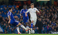 Denys Harmash of Dynamo Kiev (Dynamo Kyiv) moves past Cesc Fabregas of Chelsea during the UEFA Champions League Group G match between Chelsea and Dynamo Kyiv at Stamford Bridge, London, England on 4 November 2015. Photo by Andy Rowland.