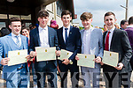 Sean Collins, Joe Quilter, Michael Daly, Dáire Ó Nualláin and Quin O'Halloran, who received their certificates at Mercy Mounthawk Secondary School, graduation Mass at Our Lady & St. Brendan's Church, Tralee, on Friday afternoon last.