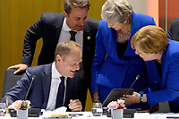 10 April 2019 - President of the European Council Donald Tusk, Luxembourg's Prime minister Xavier Bettel, British Prime Minister Theresa May and German Chancellor Angela Merkel talk at a round table meeting in Brussels, Belgium.Theresa May formally presents her case to the European Union for a short delay to Brexit until 30 June 2019. The other EU leaders will then then discuss how to respond at a dinner without her. Photo Credit: ALPR/AdMedia