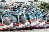 Fishing boats moored in a line at the river bank in the Mekong Delta, Vietnam.