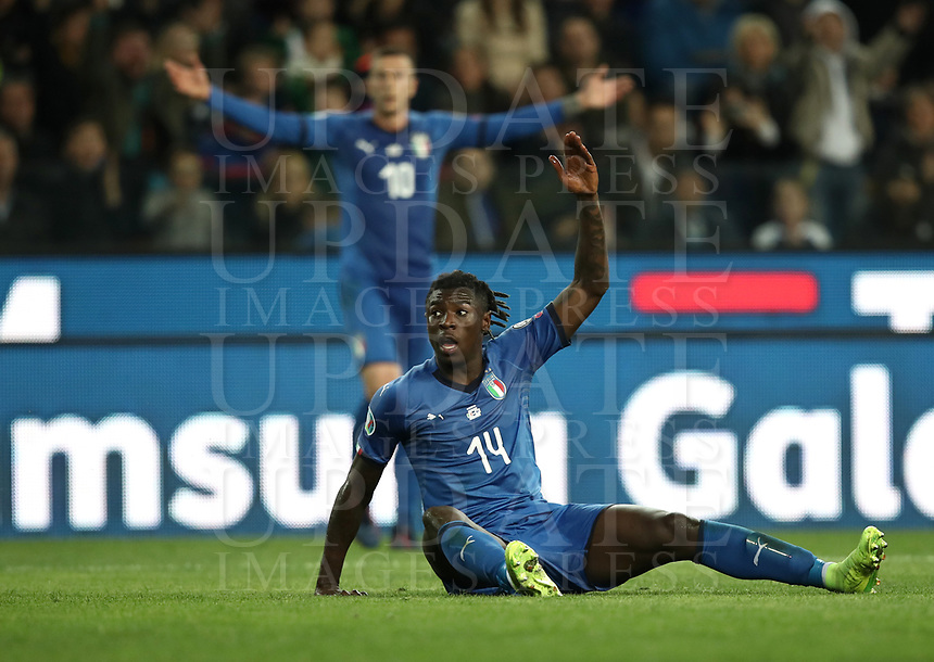 Football: Euro 2020 Group J qualifying football match Italy vs Finland at the Friuli Stadium in Udine on march  23, 2019<br /> Italy's Moise Kean reacts during the Euro 2020 qualifying football match between Italy and Finland at the Friuli Stadium in Udine, on march 23, 019<br /> UPDATE IMAGES PRESS/Isabella Bonotto