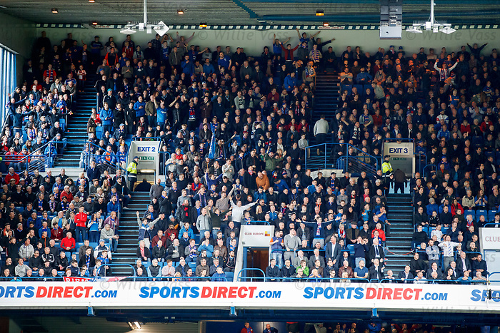Rangers fans in the Club Deck celebrating Joe Garner's goal