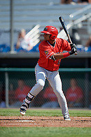 Batavia Muckdogs shortstop Christopher Torres (6) at bat during a game against the Auburn Doubledays on June 17, 2018 at Falcon Park in Auburn, New York.  Auburn defeated Batavia 10-6.  (Mike Janes/Four Seam Images)