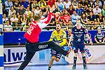 Bogdan RADIVOJEVIC (#14 Rhein-Neckar Loewen) \Jonas LINK (#22 SG Bietigheim)\ beim Spiel in der Handball Bundesliga, SG BBM Bietigheim - Rhein Neckar Loewen.<br /> <br /> Foto &copy; PIX-Sportfotos *** Foto ist honorarpflichtig! *** Auf Anfrage in hoeherer Qualitaet/Aufloesung. Belegexemplar erbeten. Veroeffentlichung ausschliesslich fuer journalistisch-publizistische Zwecke. For editorial use only.